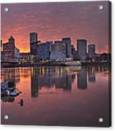 Sunset Over Willamette River Along Portland Waterfront Acrylic Print