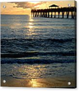 Sunset Pier Acrylic Print by Carey Chen