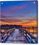 Sunset Pier Fishing Acrylic Print