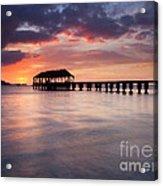 Sunset Pier Acrylic Print by Mike  Dawson
