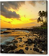 Sunset, Poipu, Kauai, Hawaii, Usa Acrylic Print