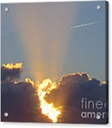 Sunset Rays Bursting Through The Clouds With Jet Stream From Aircraft. Acrylic Print