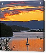 Sunset Sail In The Bay Acrylic Print