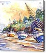 Sunset Sail On Brittany Beach  Acrylic Print