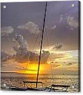 Sunset Sailboat Vertical Acrylic Print