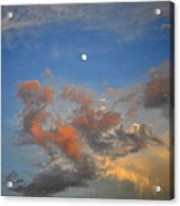Sunset Sky With Gibbous Moon And Clouds Usa Acrylic Print