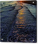 Sunset Surf Acrylic Print by Perry Webster