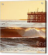 Sunset Surf Santa Cruz Acrylic Print by Paul Topp