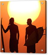Sunset Surfers Acrylic Print