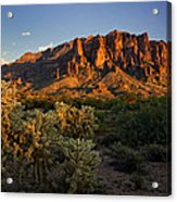 Sunset View Of The Superstitions  Acrylic Print