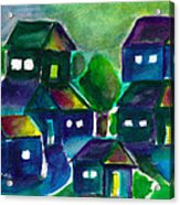 Sunset Village Watercolor Acrylic Print