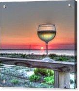 Sunset With Wine Glass Acrylic Print
