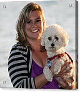 Sunset With Young American Woman And Poodle Acrylic Print