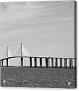 Sunshine Skyway Bridge Bw II Tampa Bay Florida Usa Acrylic Print