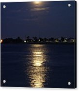 Super Moon Over The Mississippi River In New Orleans Acrylic Print by Louis Maistros
