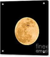 Super Moon With Airliner Silhouette Acrylic Print
