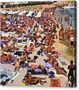 Super Paradise Beach In Mykonos Island Acrylic Print