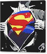 Superman Acrylic Print by Erik Pinto