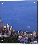 Supermoon Moonrise Over Seattle Skyline Acrylic Print
