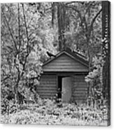 Sureal Gothic Infrared Woodlands Haunting Spooky Eerie Old Building With Black Ravens Acrylic Print
