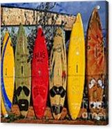 Surf Board Fence Maui Hawaii Acrylic Print