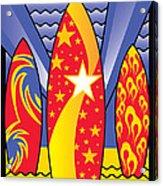 Surf Boards Retro Art Deco Acrylic Print
