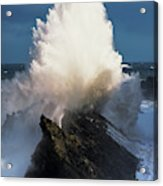 Surf Erupts On The Rocks At Shore Acres Acrylic Print