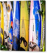 Surfboard Fence Maui Hawaii Acrylic Print by Edward Fielding