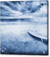 Surfboard On The Beach Acrylic Print