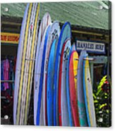 Surfboards At Hanalei Surf Acrylic Print