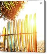 Surfboards At Ocean Beach Acrylic Print