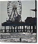 Surfer And Lovers At Pleasure Pier Acrylic Print