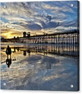 Surfer At Low Tide Acrylic Print