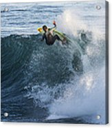 Surfer At Steamer Lane Acrylic Print by Bruce Frye
