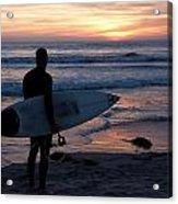 Surfer At Sunset Acrylic Print