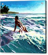 Surfer Coming In Acrylic Print