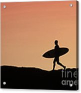 Surfer Crossing Acrylic Print by Paul Topp