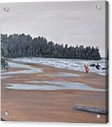 Surfer On A Rainy Day In Bc Acrylic Print