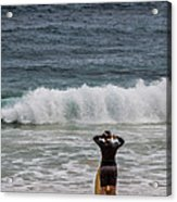 Surfer Checking The Waves Acrylic Print