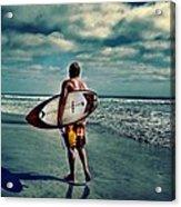 Surfer Walking The Beach Acrylic Print