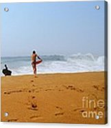 Surfers At Newport Beach Acrylic Print