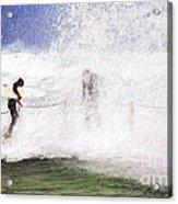 Surfers at rockpool Acrylic Print
