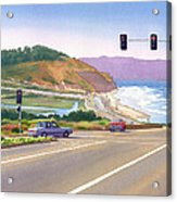 Surfers On Pch At Torrey Pines Acrylic Print