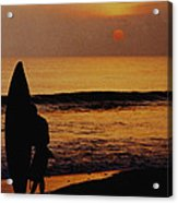 Surfing At Sunset Acrylic Print by Anonymous
