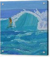 Surfing Big Waves On The North Shore Of Oahu Acrylic Print