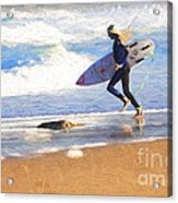 Surfing girl Acrylic Print