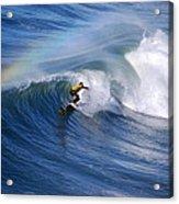 Surfing Under A Rainbow Acrylic Print