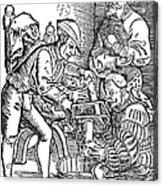 Surgeon Performing An Amputation. Woodcut From An Edition Of Hans Von Gersdoffs Feldtbuch Der Wundartzney, Strassburg, 1540 Acrylic Print