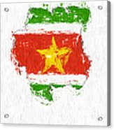 Suriname Painted Flag Map Acrylic Print