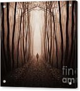 Surreal Dark Forest With Man Walking Trough Trees Acrylic Print